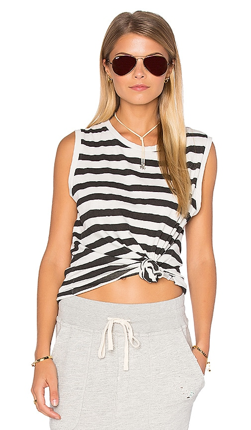 SUNDRY Striped Muscle Tank in Black