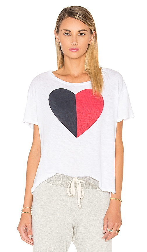 SUNDRY Split Heart Loose Tee in White