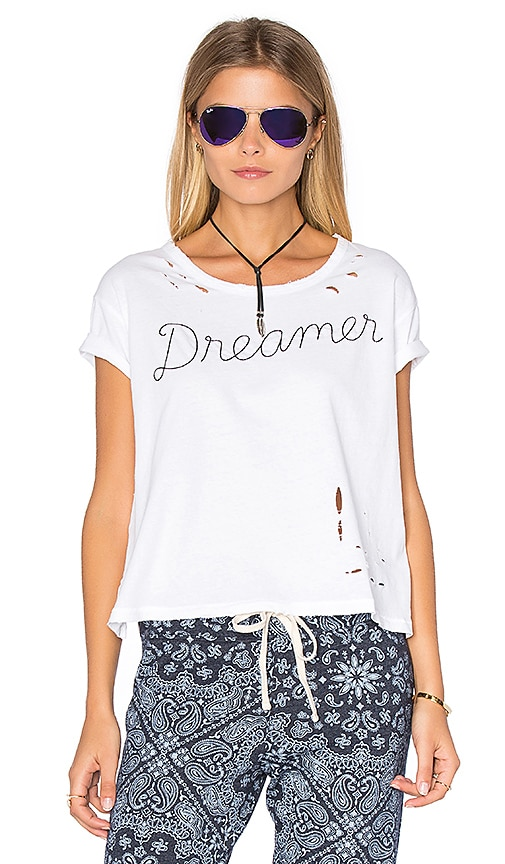 SUNDRY Texture Jersey Dreamer Loose Tee in White