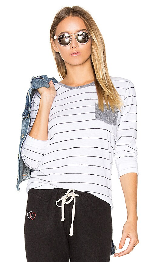 SUNDRY Stripes Slub Tee with Pocket in White