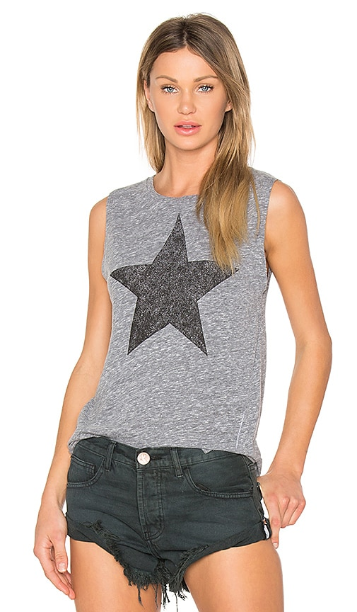 SUNDRY Star Muscle Tank in Gray