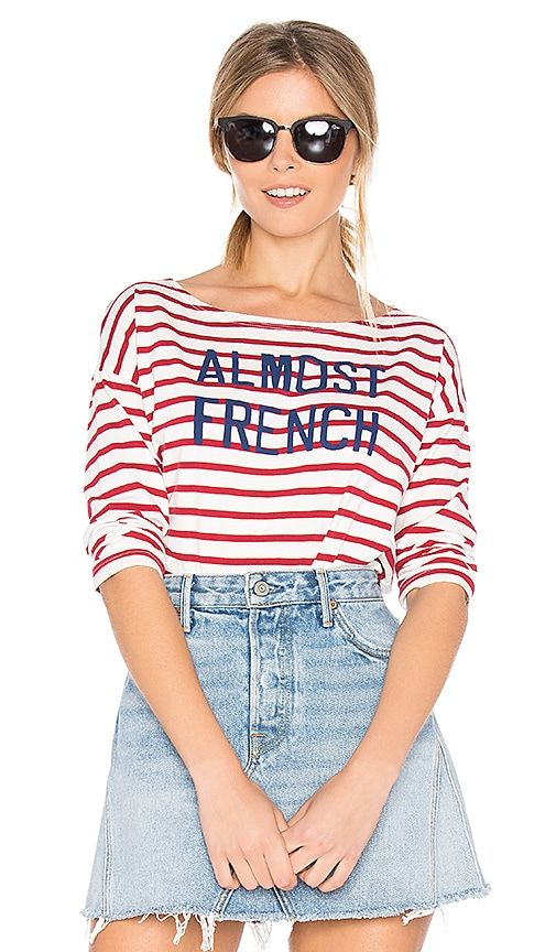 SUNDRY Almost French Long Sleeve Tee in Red
