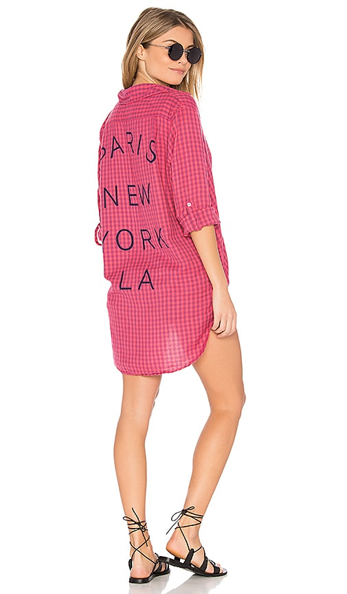 SUNDRY Paris NY LA Oversized Shirt in Red