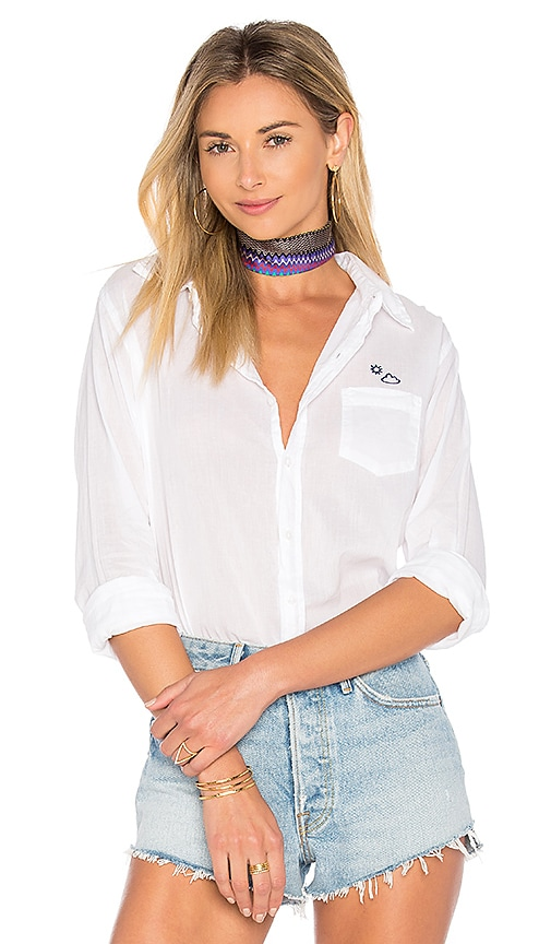SUNDRY Partly Cloudy Basic Shirt in White