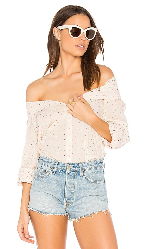 SUNDRY Color Dots Oversized Shirt in Ivory
