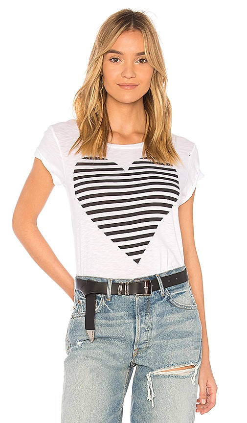 SUNDRY Striped Heart Boy Tee in Ivory