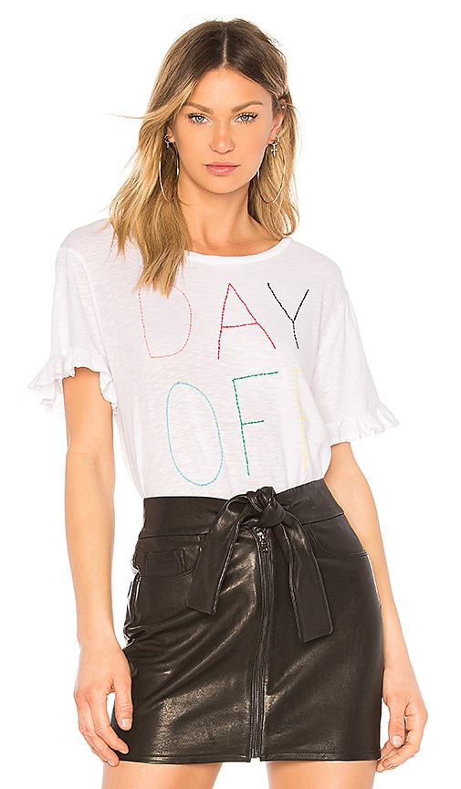 SUNDRY Day Off Ruffle Tee in White