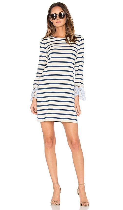 Sea Stripe & Eyelet Dress in Cream