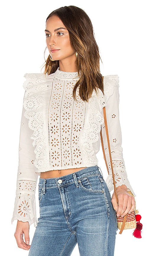 Sea Exploded Eyelet Ruffle Top in White