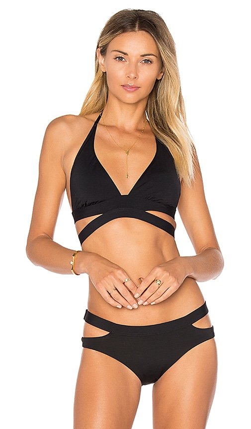 Seafolly Cut Out Halter Bikini Top in Black