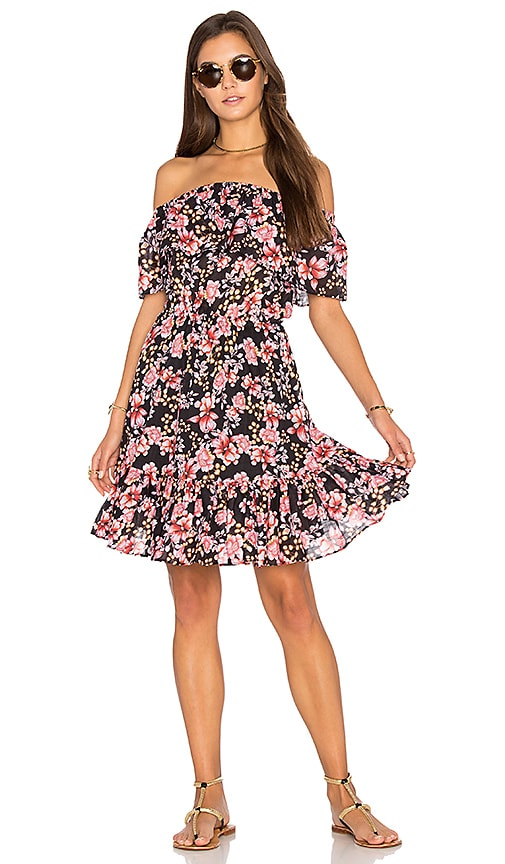 Seafolly Nouveau Floral Off Shoulder Dress in Black
