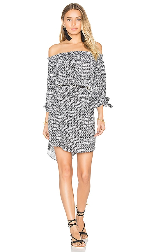 Seafolly Geo Print Off Shoulder Dress in Black & White
