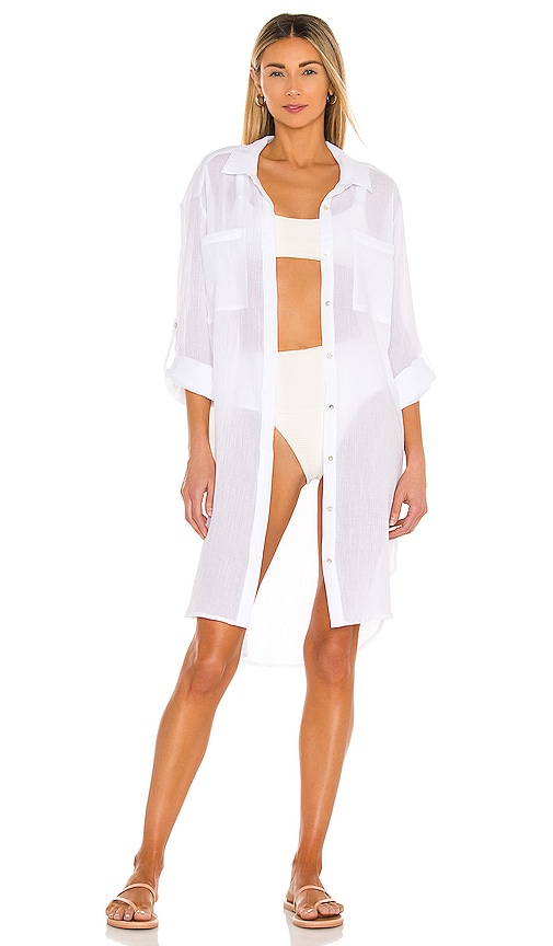 Seafolly Crinkle Twill Beach Tunic in White