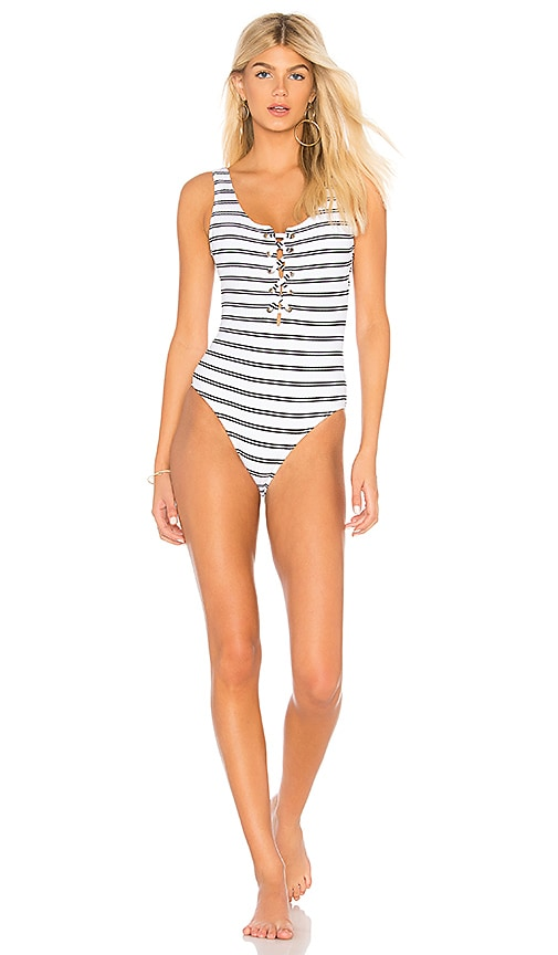 b52643fdf4d2f Seafolly Inka Stripe Lace Up One Piece in White | REVOLVE