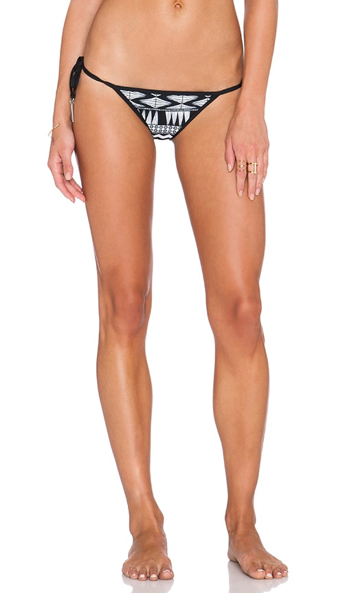 Seafolly Future Tribe Brazilian Tie Side Bikini Bottom in Black & White