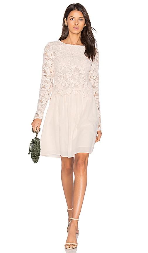 See By Chloe Long Sleeve Lace Mini Dress in Blush