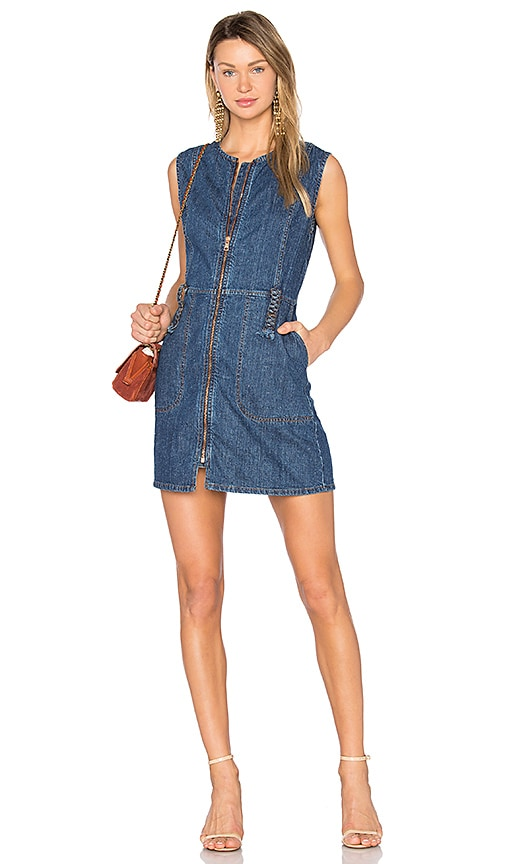 See By Chloe Flared Mini Dress in Washed Indigo