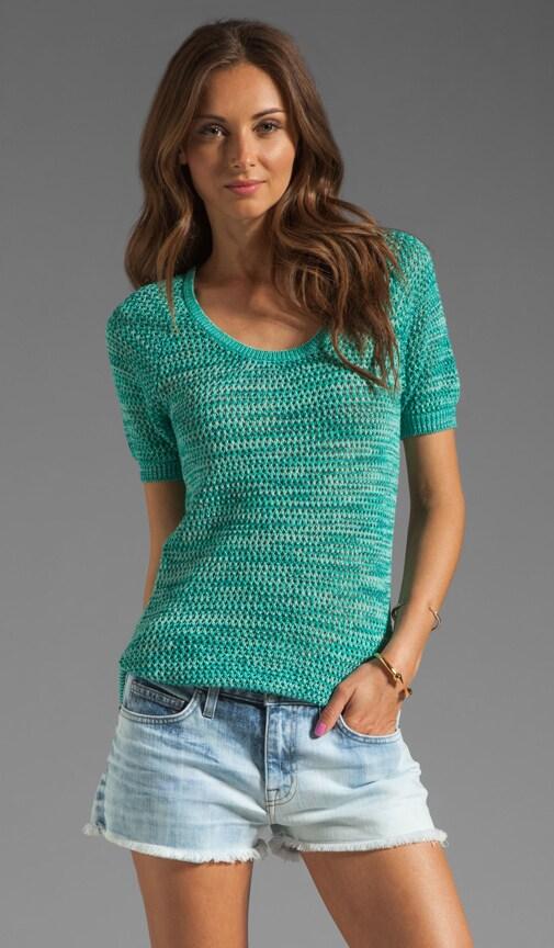 Short Sleeve Mesh Knit Pullover