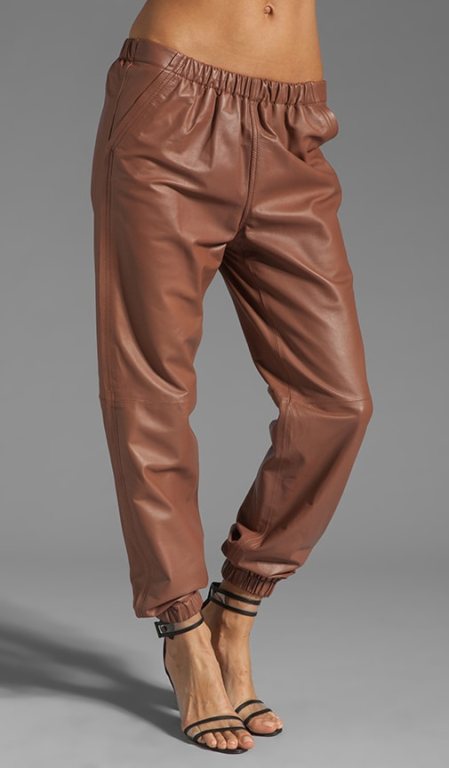 Leather Elastic Waistband Jogging Pant
