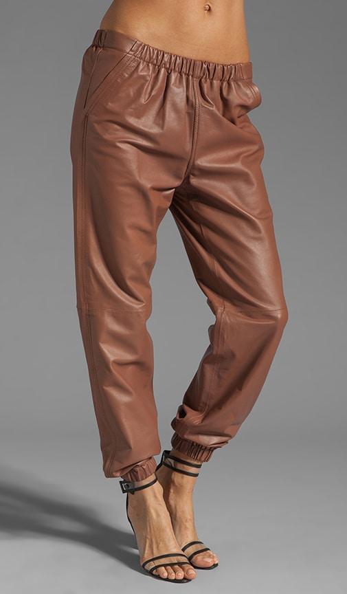 Leather Elastic Waistband Jogging Pant