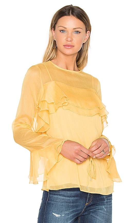 See By Chloe Tied Waist Long Sleeve Blouse in Yellow