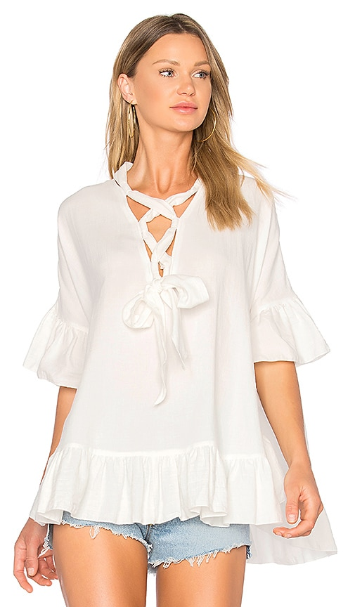 See By Chloe Lace Up Top in White