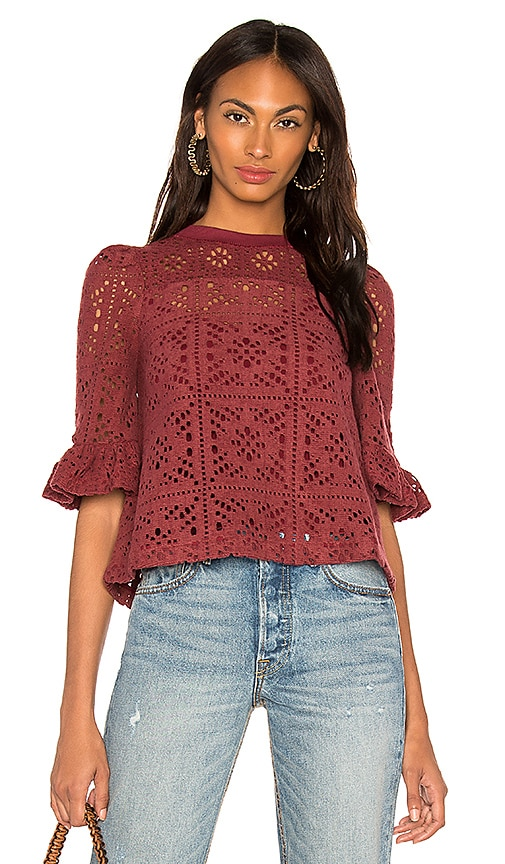 aba8e0647881aa See By Chloe Ruffle Sleeve Lace Top in Stormy Red | REVOLVE
