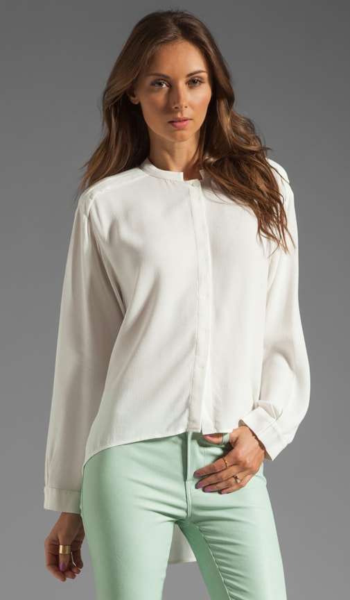 Button Down Uneven Hem Blouse