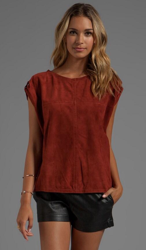 Short Sleeve Suede Round Neck Shirt