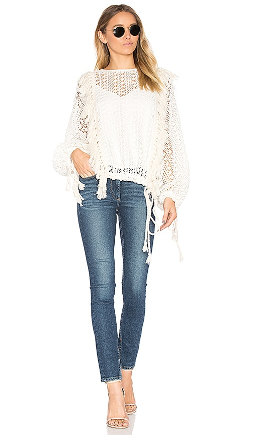 See By Chloe Fringe Detail Long Sleeve Top in White