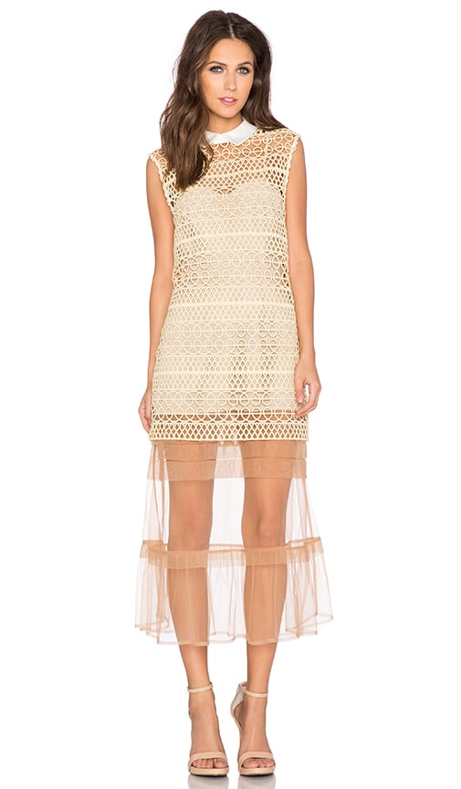 self-portrait Layered Shift Dress in Beige