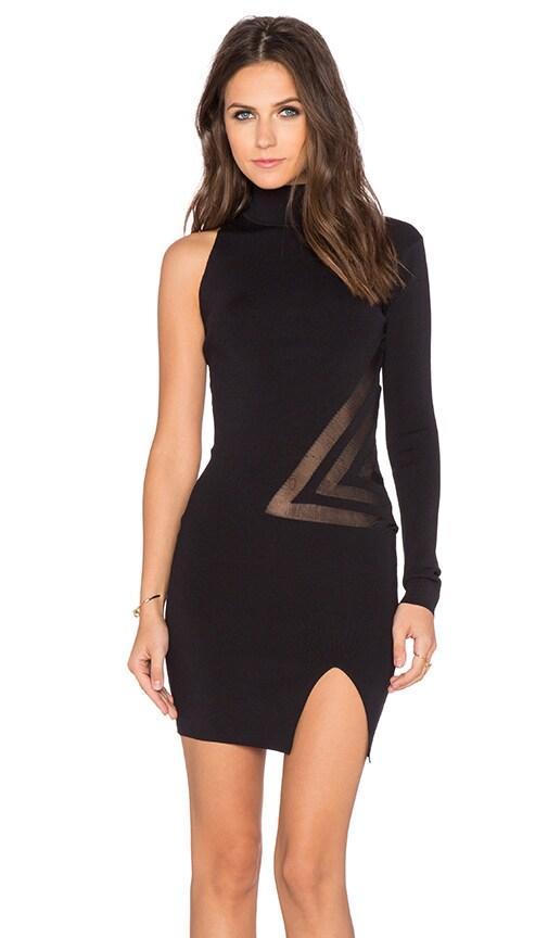 self-portrait Geometric Intarsia Mini Dress in Black