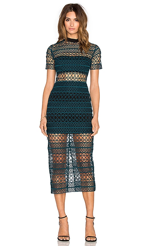 self-portrait High Neck Column Dress in Dark Green & Black