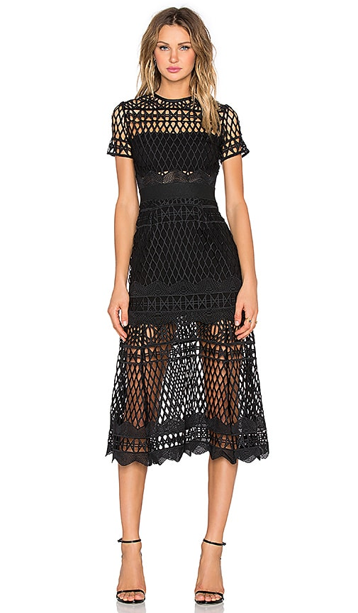 self-portrait Cut Out Lace Layered Dress in Black
