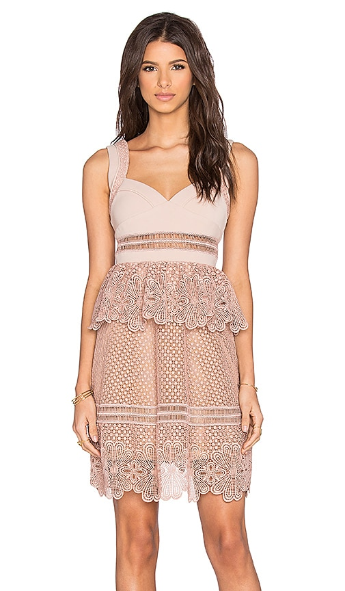 self-portrait Natalia Tiered Dress in Blush Nude & Camel