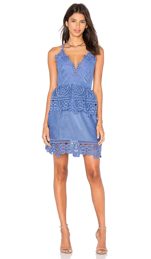 self-portrait Lace Peplum Dress in Blue