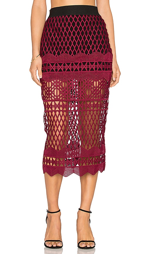 self-portrait Cut Out Lace Pencil Skirt in Burgundy & Black