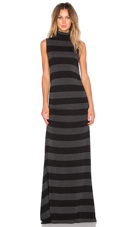 sen Gareth Dress in Black & Antracita Stripe