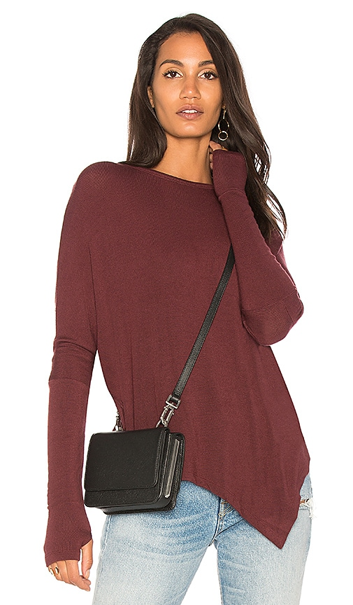 sen Jeddo Asymmetric Hem Top in Burgundy