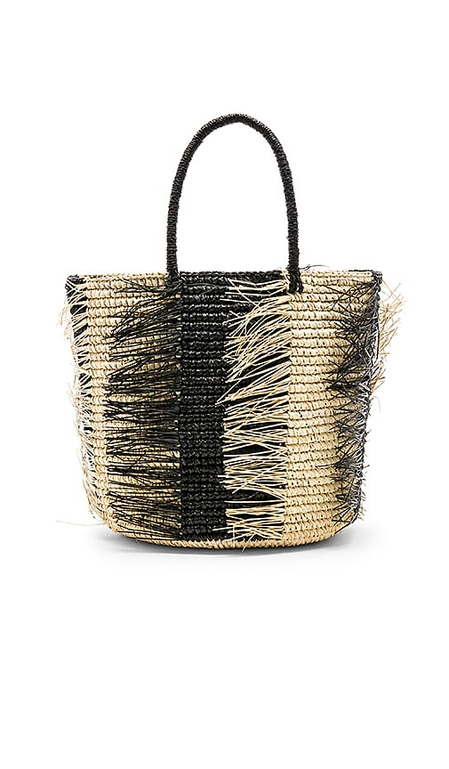 SENSI STUDIO Maxi Striped Frayed Tote in Tan