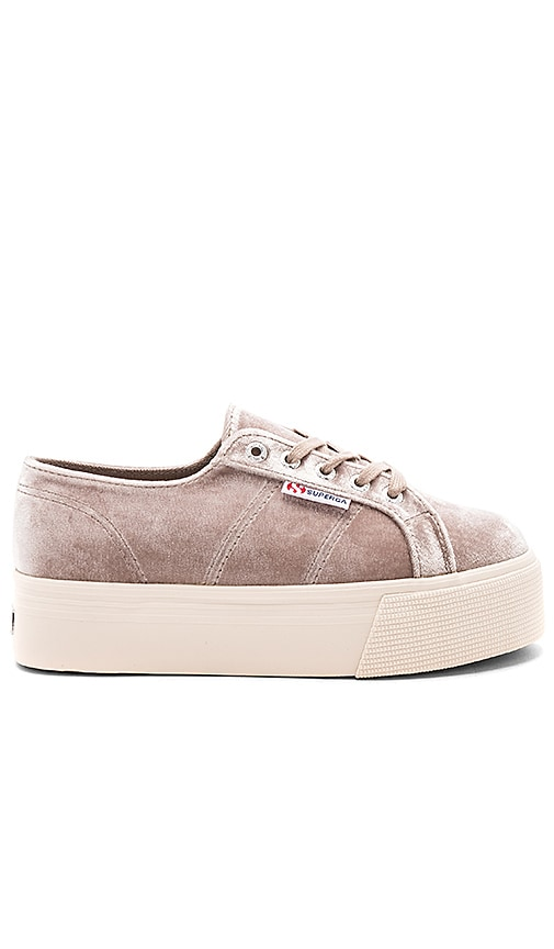 Superga 2790 Velvet Platform Sneaker in Gray