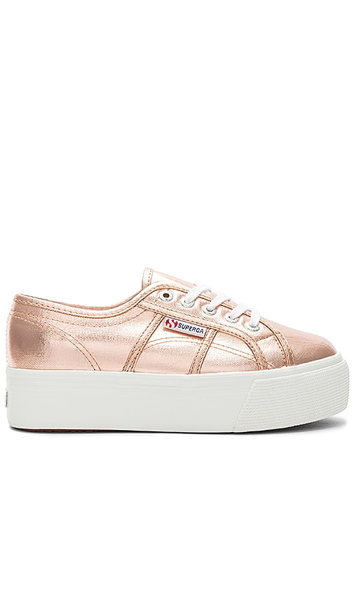 Superga 2790 Metallic Platform Sneaker in Metallic Copper