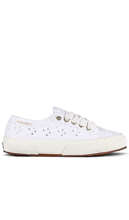 X Love Shack Fancy Classic 2750 Sneaker In White by Superga