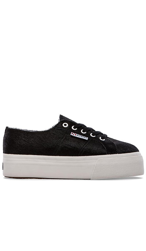 Superga Calf Hair Sneaker in Black