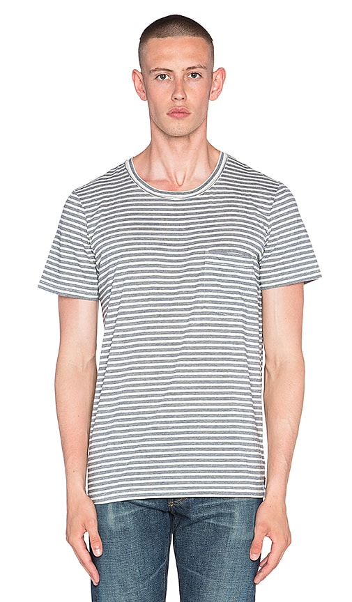 7 For All Mankind Feeder Stripe Tee in Navy