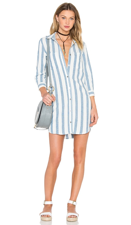 7 For All Mankind Stripe Shirt Dress in Light Blue & White