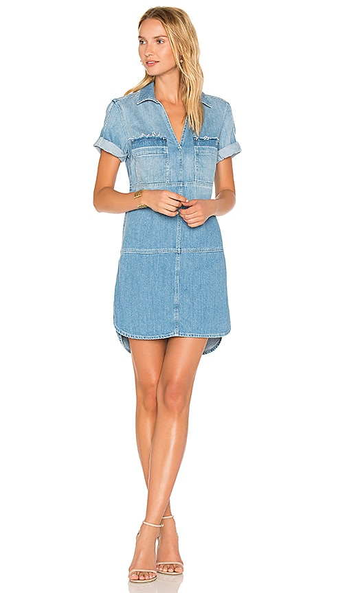 7 For All Mankind Popover Dress in Luxe Lounge Coastal Blue
