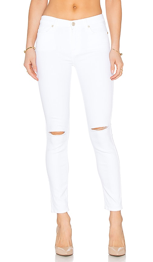 7 For All Mankind The Ankle Knee Holes Skinny in White