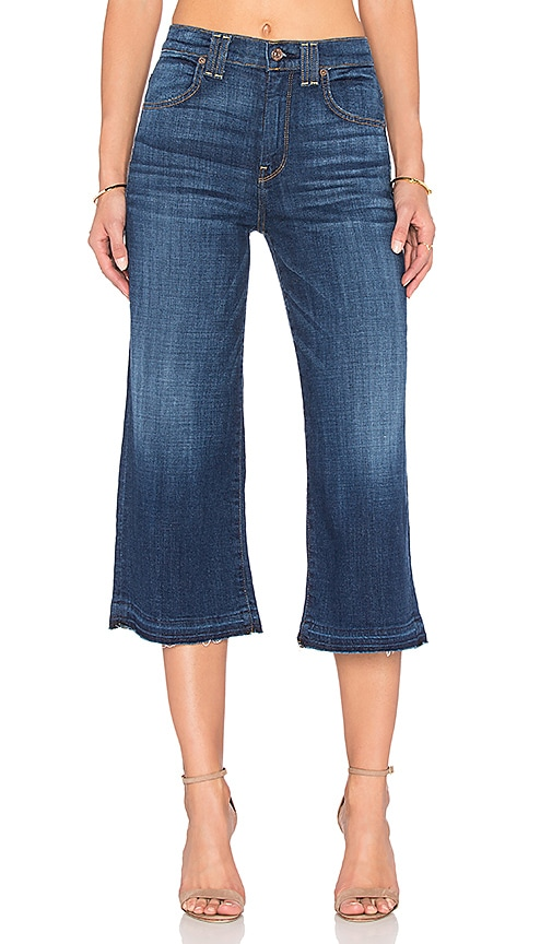 7 For All Mankind Culotte in Brilliant Blue Broken Twill