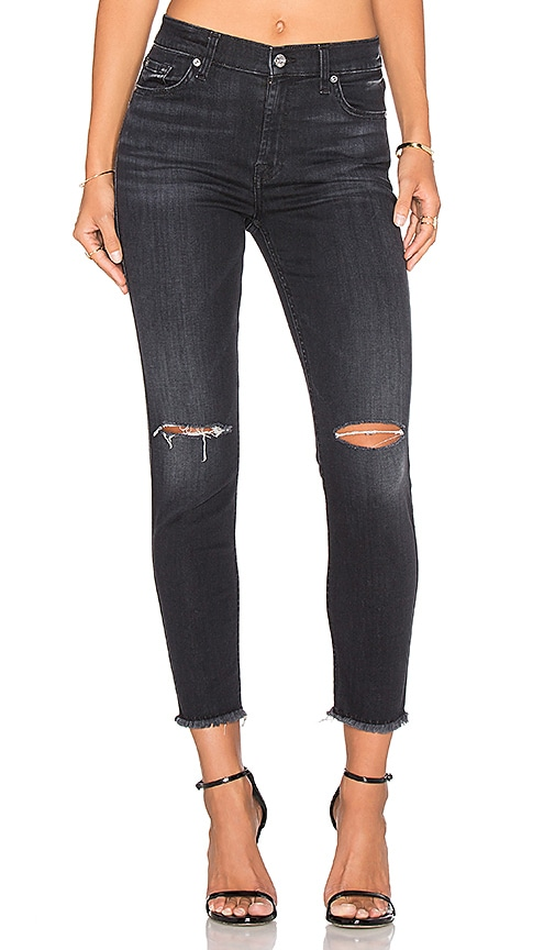 7 For All Mankind High Waist Distressed Skinny in Ashford Black